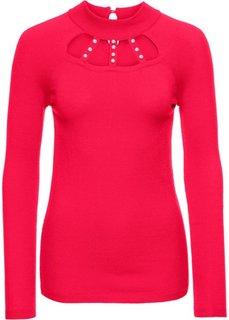 Пуловер с вырезами и аппликацией из бусин (красный) Bonprix