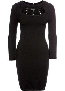 Платье вязаное (черный) Bonprix