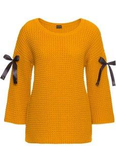Пуловер вязаный с лентами (горчично-желтый) Bonprix