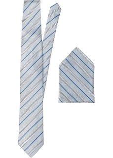 Набор: галстук + карманный платочек в полоску (серебристый в полоску) Bonprix