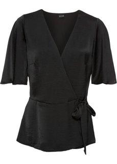 Блузка из сатина (черный) Bonprix