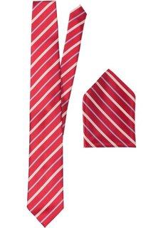 Набор: галстук + карманный платочек в полоску (красный в полоску) Bonprix