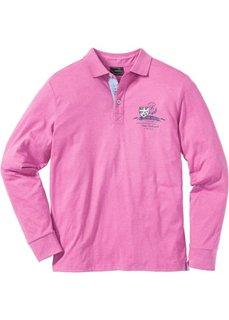 Футболка-поло Regular Fit с длинным рукавом (ярко-розовый меланж) Bonprix