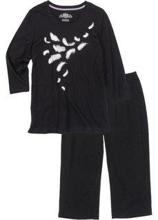 Пижама с брюками-капри и футболкой с рукавом 3/4 (черный/белый с рисунком) Bonprix