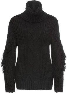 Пуловер-водолазка с бахромой (черный) Bonprix