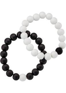 Браслет (2 шт.) (черный/белый) Bonprix