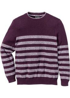 Пуловер Regular Fit в полоску (цвет бузины в полоску) Bonprix