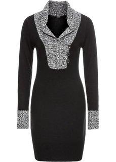 Платье вязаное с воротником (черный/серый) Bonprix