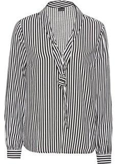 Блузка с бантом (черный/белый в полоску) Bonprix