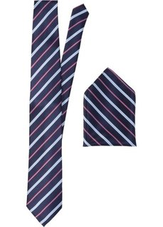 Набор: галстук + карманный платочек в полоску (темно-синий в полоску) Bonprix