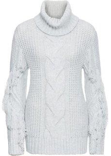 Пуловер-водолазка с бахромой (серый) Bonprix