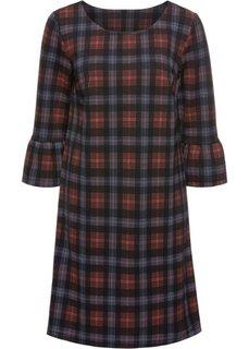 Платье с воланами (черный/бордовый в клетку) Bonprix