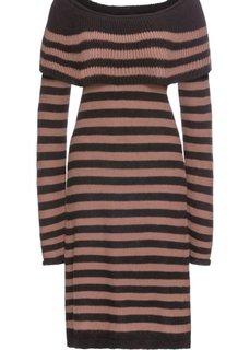 Платье вязаное полосатое с вырезом-кармен (черный/светло-коричневый в полоску) Bonprix