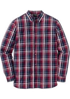 Рубашка Regular Fit с длинным рукавом, в клетку (красный/темно-синий в клетку) Bonprix
