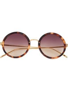 солнцезащитные очки с узором черепашьего панциря  Linda Farrow