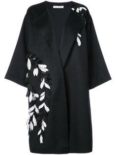 пальто с цветочной вышивкой и пайетками  Oscar de la Renta