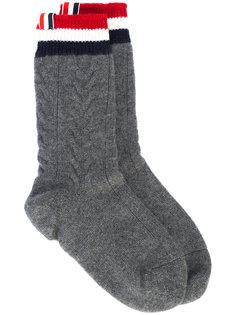 cashmere cable-knit socks Thom Browne