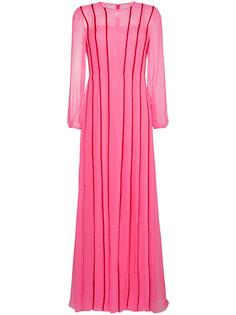 плиссированное платье с красными полосками Adam Lippes
