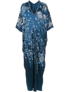платье-кафтан с вышитыми цветами Natori