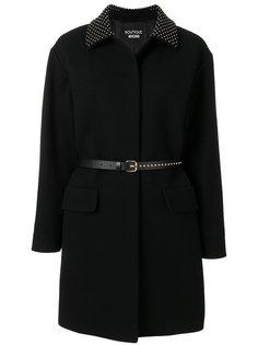 пальто с заклепками на воротнике и ремне Boutique Moschino