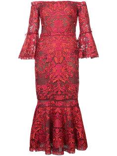 кружевное платье с открытыми плечами Marchesa Notte