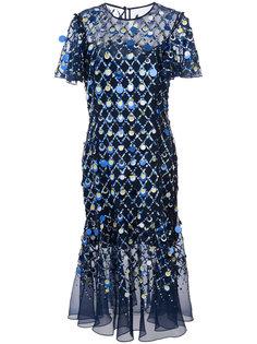 платье с отделкой крупными пайетками Prabal Gurung