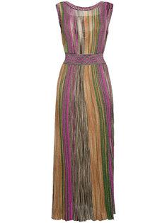 полосатое длинное платье без рукавов  Missoni
