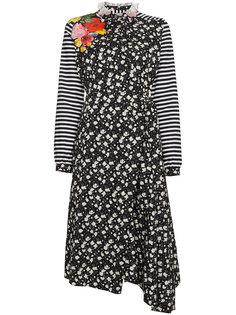 платье с цветочным принтом и оборкой  Preen By Thornton Bregazzi