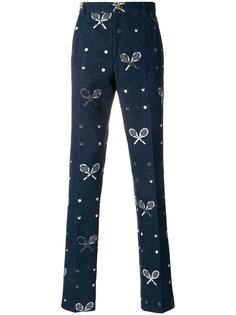 выбеленные брюки-чинос с вышивкой  Thom Browne