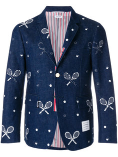 Unconstructed Classic Single Breasted Sport Coat With Grosgrain Placket In Washed Denim With Distressed Tennis Half Drop Embroidery Thom Browne