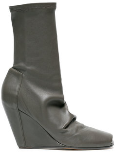 Leather 80 wedge boots with open toe Rick Owens