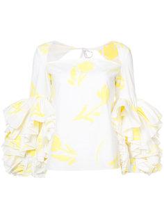 блузка с цветочным принтом и оборками  Rosie Assoulin
