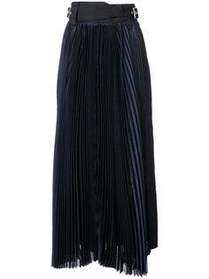 удлиненная юбка с фактурными плиссировками Sacai