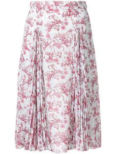 плиссированная юбка с цветочным принтом Prada