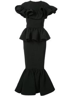 платье с оборками и баской на подоле Christian Siriano