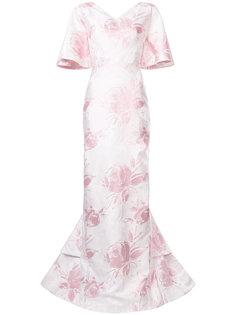 вечернее платье с цветочным узором Christian Siriano