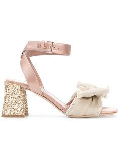 босоножки на блочном каблуке с блестками Miu Miu