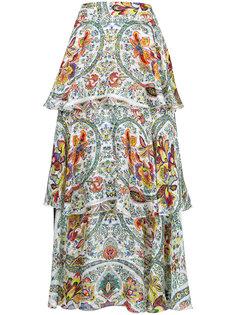 ярусная юбка с цветочным принтом  Etro