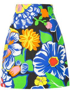 юбка с цветочным принтом и высокой талией MSGM