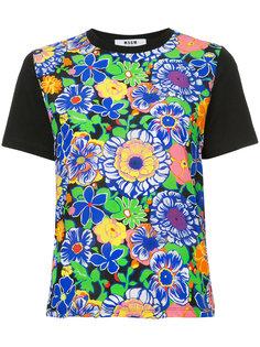 футболка с цветочным принтом  MSGM