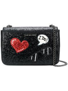 сумка на плечо с блестящей отделкой Love Moschino
