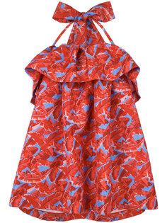 платье свободного кроя с пальмами и оборками MSGM