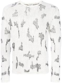 свитер Resewn с контрастными вставками Saint Laurent