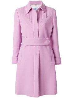 однобортное пальто с ремнем Prada