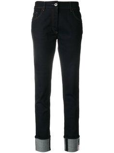 джинсы скинни с подвернутыми манжетами Prada