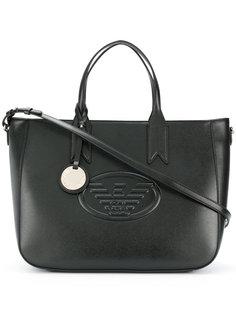 сумка-тоут с тисненым логотипом Emporio Armani