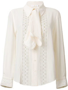 блузка с кружевной вставкой и оборкой  Chloé