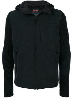 куртка с капюшоном и рукавами в рубчик Prada