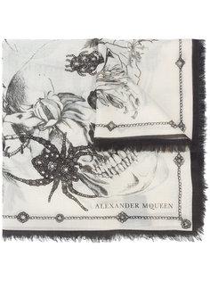 шарф с рисунком Spider and Skull Alexander McQueen