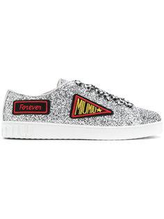 кроссовки с блестками и заплатками с логотипом Miu Miu